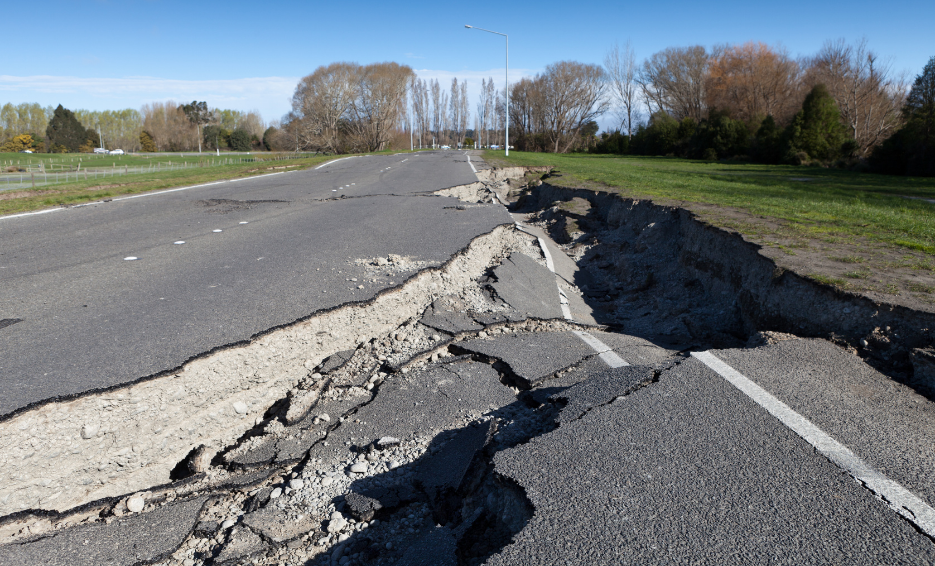 earthquake insurance ripped up road